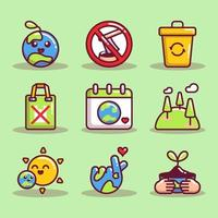 collection d'icônes de sensibilisation au jour de la terre vecteur