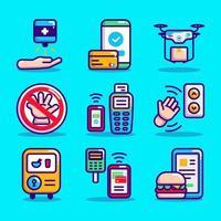 jeu d'icônes de technologie de soutien covid 19 vecteur