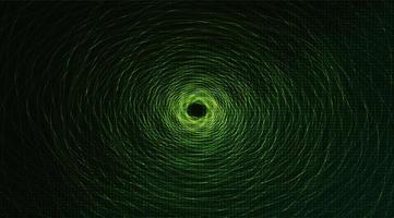 Téléporter la technologie de spirale de distorsion sur fond vert, conception de concept de réseau vecteur