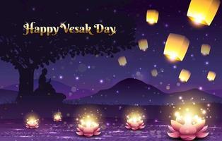 jour vesak avec bougie de lotus et lanternes vecteur