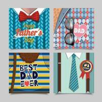 bonne fête des pères cartes de vœux vecteur