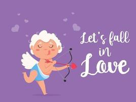 ange ludique amour cupidon saint valentin. mignon garçon ou fille cupidon. ange volant tire une flèche d'amour. vecteur