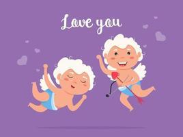 ange ludique amour cupidon saint valentin. joli couple garçon et fille. amour ange volant tire arc. vecteur