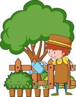 petit personnage de dessin animé pour enfants dans le jardin vecteur