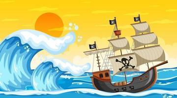 scène de l & # 39; océan au coucher du soleil avec bateau pirate en style cartoon vecteur