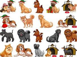 différents chiens drôles en style cartoon isolé sur fond blanc vecteur