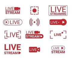 Interface de bannière de nouvelles de télévision de vecteur de flux en direct, signe en ligne de diffusion vidéo
