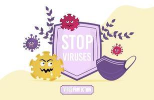 arrêter l'illustration vectorielle de virus concept. protection du bouclier et du masque vecteur