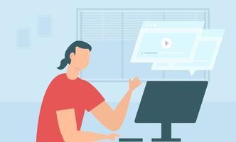 étude d'homme d'éducation à distance pendant la quarantaine. jeunes qui étudient en ligne avec un ordinateur. vecteur