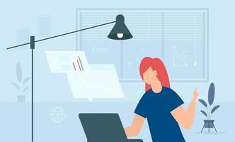 étude à distance de la femme pendant la quarantaine. jeunes qui étudient en ligne avec un ordinateur. vecteur