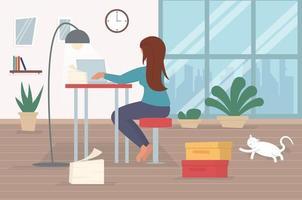 personnage indépendant travaillant à domicile, travail à domicile, travailleur indépendant, bureau à domicile, travail à domicile, illustration vectorielle conceptuelle de liberté. vecteur