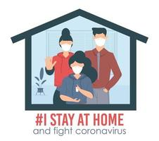 Je reste à la maison campagne de sensibilisation sur les médias sociaux et famille de prévention des coronavirus restant ensemble à la maison. vecteur