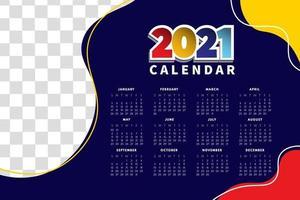 mise en page de calendrier abstraite pour le modèle de conception de calendrier 2021. la semaine commence le dimanche. conception de calendrier 2021 d'une seule page vecteur