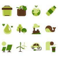 jeu d'icônes de sensibilisation de la journée de la terre vecteur