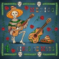 illustration 24 design sur le thème mexicain de la célébration du cinco de mayo vecteur