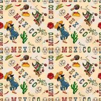 illustration de couleur de contour d'un thème mexicain sans soudure pour la conception vecteur