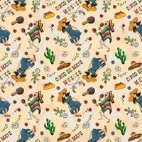 illustration de couleur de contour d'un thème mexicain sans soudure vecteur