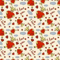 illustration pour enfants couleur transparente avec petit coeur étreignant girafe vecteur