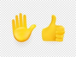 mains de vecteur 3d jaune isolés