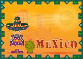 Paysage désert mexicain encadré mexicain moustachu dans un poncho et sombrero vecteur