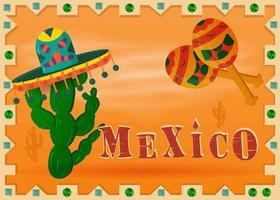 paysage du désert mexicain dans un cadre avec cactus en sombrero vecteur