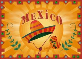 paysage du désert mexicain dans un cadre avec sombrero et maracas vecteur