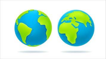 dessin animé mignon, illustration de la terre isolée sur blanc vecteur