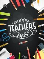 heureux concept de jour des enseignants. tableau de l'école avec différents objets vecteur