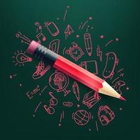crayon rouge avec des éléments de griffonnage vector illustration. science et éducation