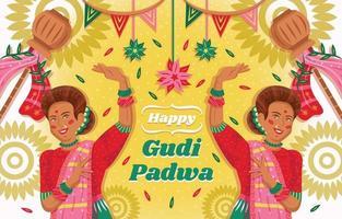 modèle de gudi padwa heureux avec des femmes indiennes dansant vecteur