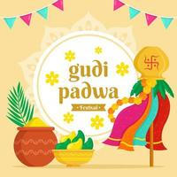 fond de festival de gudi padwa vecteur