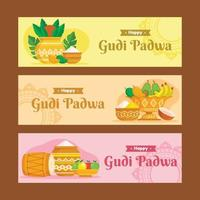 ensemble de bannière du festival gudi padwa vecteur