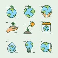 icône de jour de la terre contour plat vecteur