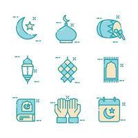 collection d'icônes islamique eid mubarak vecteur