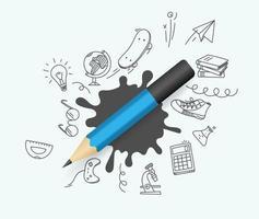 crayon bleu avec des éléments de griffonnage vector illustration