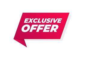bannière offre exclusive. signe de prix offre spéciale. symbole de remises publicitaires. vecteur