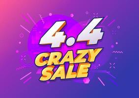 4.4 Conception d'affiche ou de dépliant de vente de jour de shopping. 4.4 ventes folles en ligne. vecteur