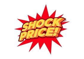 prix de choc, étiquette de vente, modèle de conception d'affiche, autocollant isolé discount, vecteur.