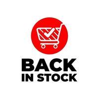 retour en stock signe, bannière rouge avec chariot sur fond blanc. vecteur