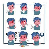 ensemble de symptômes d'un homme qui tombe malade. il tousse, est fatigué et souffre de douleurs thoraciques. coronavirus. vecteur