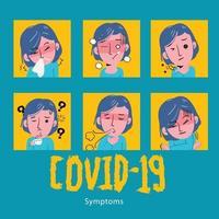 symptômes du covid19. concept de soins de santé. vecteur