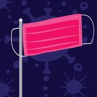 masque de chirurgien rose comme drapeau. masque de protection virus et grippe. concept de chirurgie des problèmes de santé et lutter contre le nouveau coronavirus vecteur