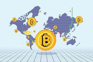 Bitcoin avec carte du monde en arrière-plan. concept de crypto-monnaie vecteur