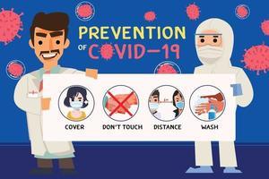 docteur tenant un document d'information sur les conseils de prévention de covid-19 vecteur
