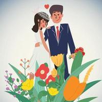 couple de mariage avec des fleurs. vecteur