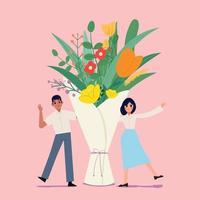 bouquet de fleurs avec homme et femme. la Saint-Valentin. vecteur