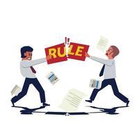 les hommes d'affaires se battent pour déchirer le papier avec le texte de la règle. aucun concept de règle. vecteur