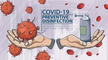 bannière de désinfection préventive covid-19 vecteur