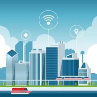 paysage de smartcity avec icône de la technologie vecteur