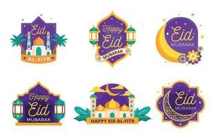 collection de badges eid mubarak vecteur